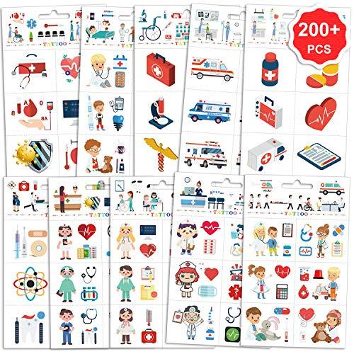 Konsait 200pcs Hospital Theme Temporary Tattoos, Ambulance Doctor Nurse Theme Fake Waterproof Tattoos for Kids Birthday Party Favor Boys Girls Cosplay Accessories School Education Theme Gift Reward