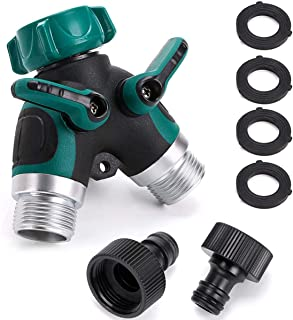 2 Way Garden Hose Splitter, Outdoor Utility Y Valve Hose Connector, Comfortable Rubberized Grip Faucet Adapter with 2 Conn...