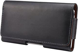 Toprime ベルトケース 横型 本革 スマホポーチ U字型クリップ ループ カジュアル シンプル iphone8 iphone7 5.5インチ ブラック