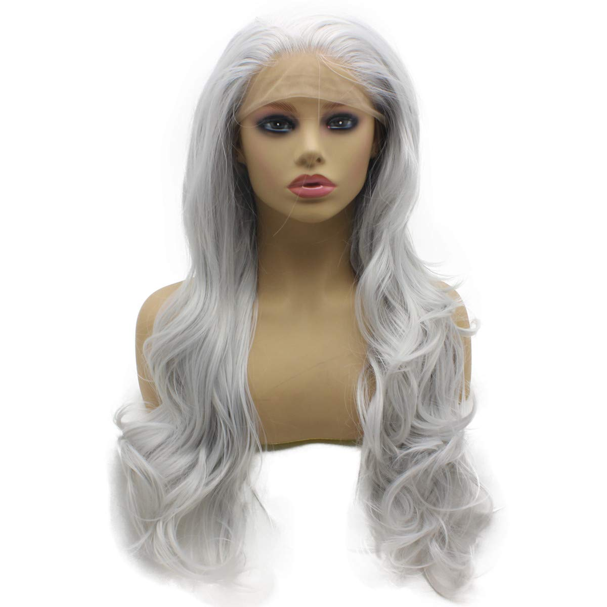 Iwona Long Wavy Siver Half Hand Tied Lace It is very Phoenix Mall popular Synthetic Front He Wig