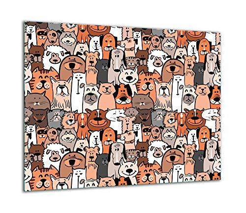 TMK | Placa de cristal para cubrir la cocina de 60 x 52 cm, una sola pieza, protección contra salpicaduras, placa de cristal, decorativa, tabla de cortar, perro y gato