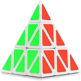 Ganowo Pyramid Cube Speed Cube Magic Puzzle 3x3 Cube Toys for Kids (White Pyramid)