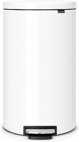 Brabantia 485206 Pedal Bin 30 Litre Flatback Waste Bin, White, 1 Piece