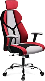 GTRACING Gaming Chair Soft Breathable Fabric Office Gaming Executive Chair Lumbar Support w/Ergonomic Curved Deign & Headrest Reclining Adjustable Computer Desk Home Chair(Red)