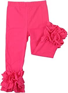 Little Girls' Ruffle Leggings Baby Toddler Solid Color Flower Pants