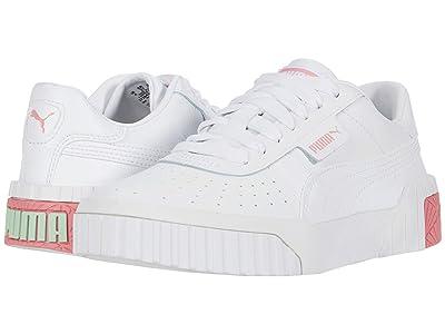 PUMA Kids Cali (Big Kid) (White/Peony/Mist Green) Girls Shoes