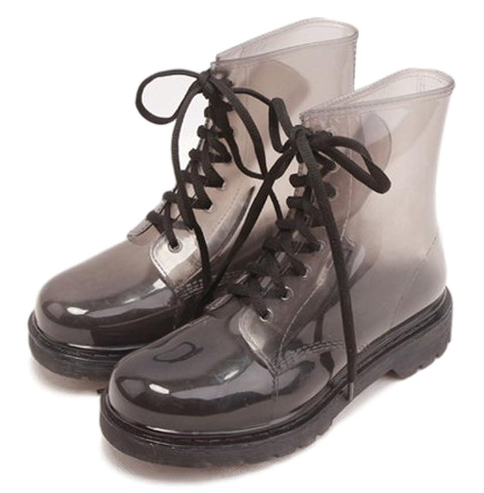 線シビックお願いしますYouchan(ヨウチャン)レディース レインブーツ ショート丈 ローヒール 雨の日安心 梅雨 防水 シンプル 紐靴 かわいい グレー 23.5~24.5cm