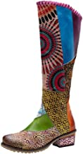 Women Flat Bohemian Knee Boots Retro Embroidery Side Zipper Splicing Pattern Shoes