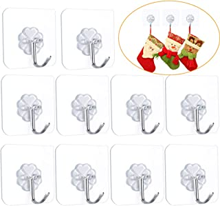 FOTYRIG Adhesive Wall Hooks Wall Hangers Without Nails Heavy Duty 15lbs (Max) 180 Degree Rotating Seamless Scratch Hooks for Hanging Bathroom Kitchen Office-10 Packs