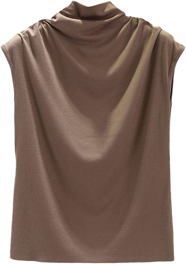 Fastbot Mock Neck Sleeveless Tops for Women Solid Color Turtleneck Tank Vest Casual Business Loose Tunic Cami Camisole