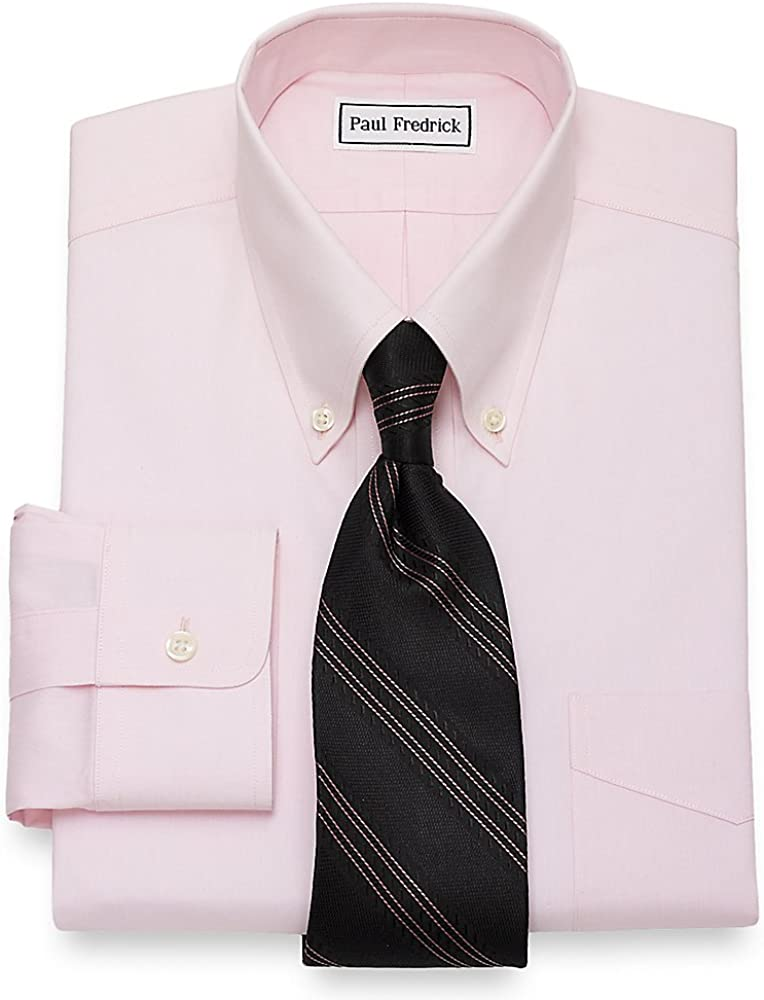 Paul Fredrick Men's Non-Iron 2-Ply Cotton Button Down Collar Dress Shirt, Size 15.5/35 Pink