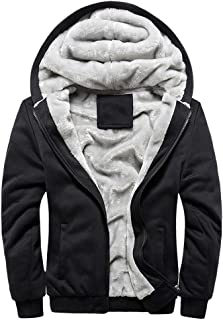 Nevera Fashion Mens Hoodie Zipper Coat, Winter Warm Fleece Sweater Jacket Outwear Solid Color Coat