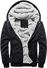 Toimothcn Mens Faux Fur Lined Coat Winter Warm Fleece Hood Zipper Sweatshirt Jacket Outwear(Please Order 2 Size up