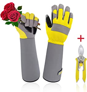 Jardineer Rose Pruning Gardening Gloves, ProfessionalPuncture Resistant Cutting Thorn Proof Ladies Gloves with Long Adjustable Cuff, Rose Gloves for Womens
