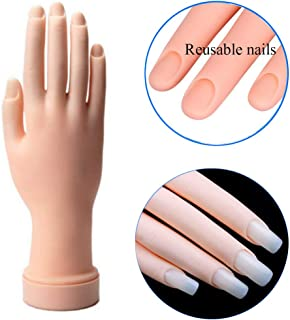 AORAEM Nail Trainning Practice Hand Flexible Soft Plastic Mannequin Hand Nail Art Trainer Manicure Practice Hand Tool