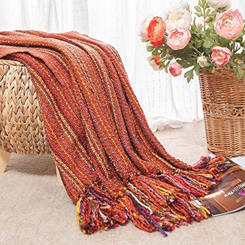 ZDBBY Lanzar Manta Invierno Espesar luchas cálidas Cama Decorativa Colcha Adecuada en la Cama (Color : Red, Size : 127x152cm)