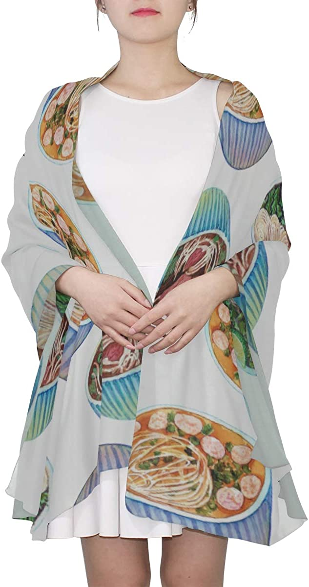 Watercolor Vietnamese Soup Unique Fashion Scarf For Women Lightweight Fashion Fall Winter Print Scarves Shawl Wraps Gifts For Early Spring