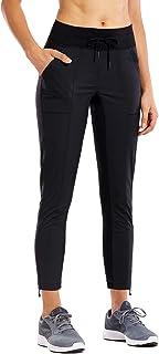 CRZ YOGA Women's Go to Studio Jogger Striped Cargo Pants Drawstring Leg 7/8 Workout Casual Pants