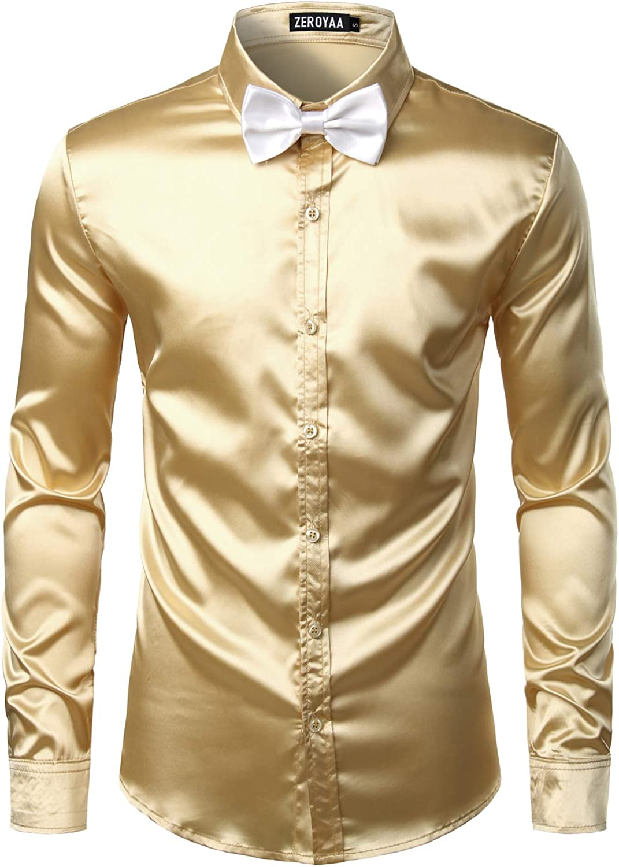 Max 89% OFF ZEROYAA Men's Luxury Shiny Silk Like Dress El Paso Mall Satin Up Button Shirt