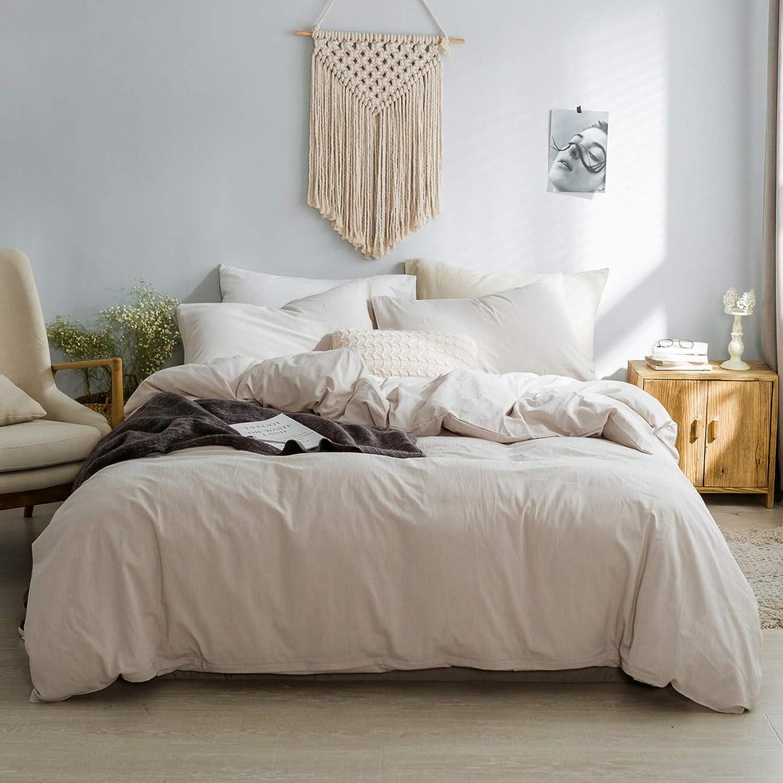 ZYEN Duvet Covers Queen Beige Ultra Soft 100% Washed Cotton Duvet Cover Set Kids Adults Quilt Cover Bedding Sets with Zipper Closure (JCK- Beige, Queen)