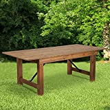 Flash Furniture HERCULES Series 7' x 40' Rectangular Antique Rustic Solid Pine Folding Farm Table