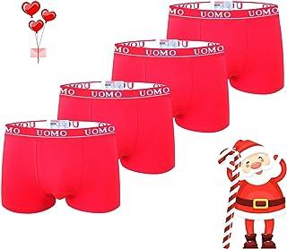 TrendyBoy Calzoncillos bóxer de algodón navideños para niños Ropa Interior 6-16 años Calzoncillos Paquete de 4 Color Rojo ...