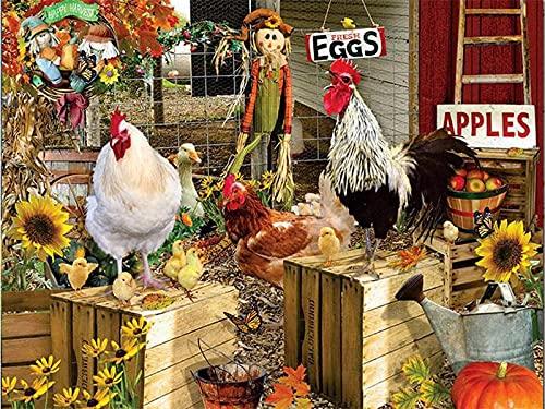 Pintura sin marco por números, decoración de pintura acrílica de pollos para el hogar, imágenes por números, arte abstracto de animales, regalo hecho a mano A2 40x50cm