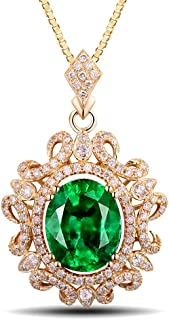 14K White Yellow Rose Gold Natural Emerald Diamond Pendant Necklaces Engagement Wedding for Women