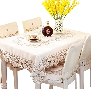EffortLife Brown Flower Embroidered Lace Tablecloth Round Table Cover 70 x 70 Inch