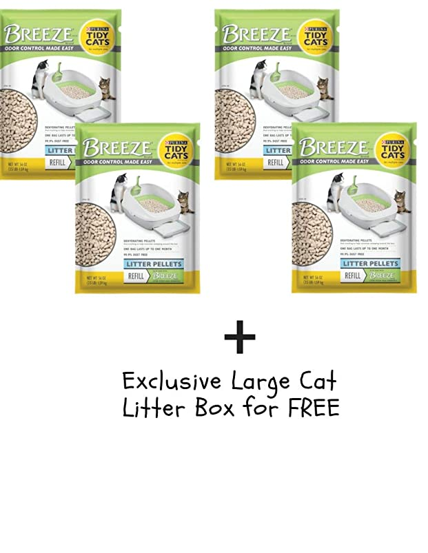 Tidy Cats Purina Breeze Cat Litter Pellets Refill for Multiple Cats 3.5 lb. Pouch (4 Pack + Free, 3.5 lb.) zvgmrwbg445161