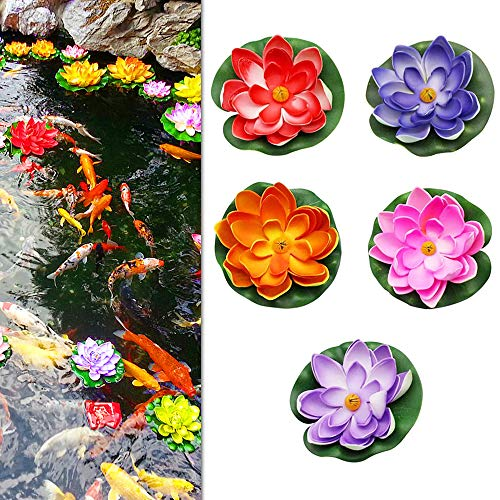 PEAK-EU 5 PCS Artificiale ninfee galleggianti Fiori Impermeabile Fiore di Loto Applica a Wedding Day Acquari Decorazione di San Valentino