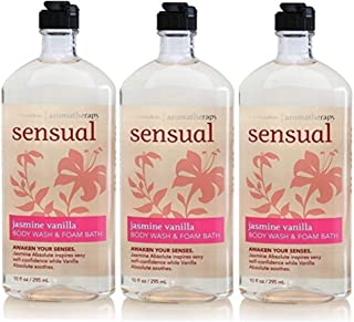 Lot of 3 Bath & Body Works Aromatherapy Sensual Jasmine & Vanilla Body Wash & Foam Bath (Jamsine & Vanilla)