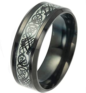 Luminou Black Celtic Dragon Rings for Men Women Stainless Steel Luminou Glow Wedding Band Jewelry