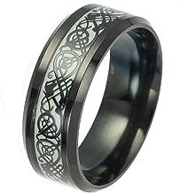 Tanyoyo Luminou Black Celtic Dragon Rings for Men Women Stainless Steel Luminou Glow Wedding Band Jewelry