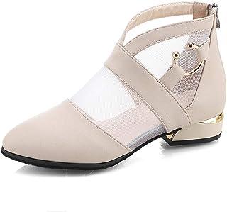 LuckyGirls Botas Mujer Moteras Bota Zapatos de Ca/ña Alta Calzado con Hebilla Patchwork Zapatillas Zapatos de Tac/ón Bajo 4.5cm