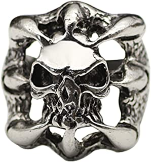 yihan jewelry 925 Sterling Silver Plated Retro The Expendables Stallone's Skull Ring Death Squads Skeleton Head Biker Rings