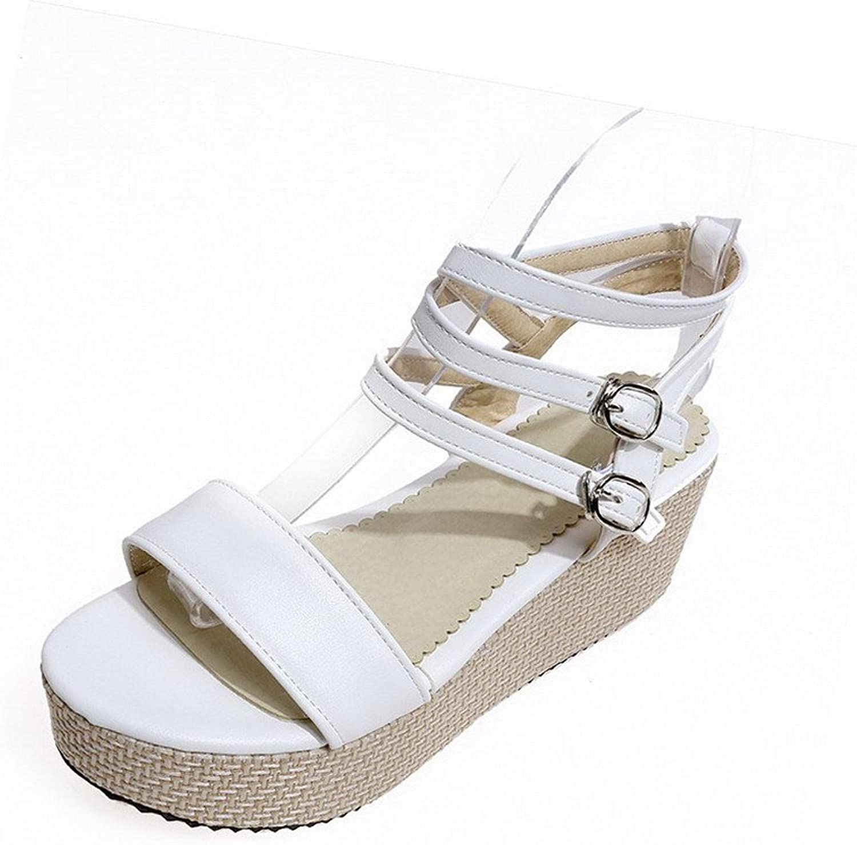 AllhqFashion Women's Open Toe Kitten Heels Soft Material Solid Buckle Sandals