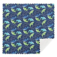 キッチンクロス 布巾 ティータオル ガラス食器磨きふきん ディッシュクロス ブルー グリーン イルカ サメ 雑巾 拭き取り布 吸収性タオル 吸水クロス タオル キッチン リーニングクロス 速乾性 吸収性およびク