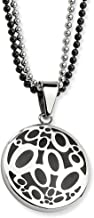 Stainless Steel Black Rubber Circles 22 Inch Chain Necklace Pendant Charm Fashion Jewelry for Women