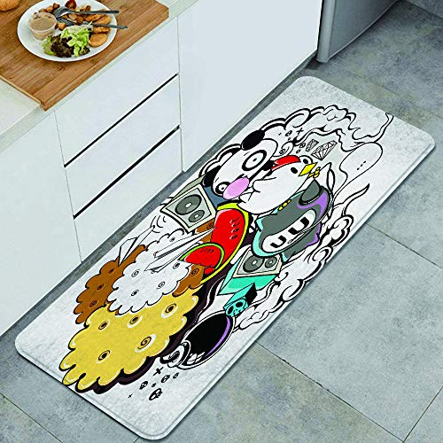 Washable Kitchen Rug,Animal and Food Themed Composition...