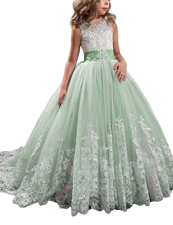 Yc ガールズ ボールガウン アップリケ ビーズ Oネック ページェントドレス US サイズ: 6 カラー: グリーン
