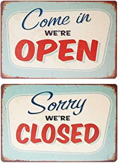 """Sorry We're Closed,Come in We're Open - Retro Metal Vintage Tin Sign 12"""" X 8"""" THP"""