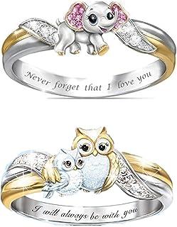 2 قطعة خواتم أنيقة للنساء فضية دائرية لطيفة حيوان الزفاف خاتم مجوهرات هدايا ، الفيل والبومة، مقاس 8