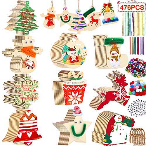 Unfinished Christmas Wooden Ornaments, ZALALOVA 476Pcs MSDS Approved Christmas Tree Ornaments 10 Style 100pcs DIY Crafts Christmas Decorations w/Bells Pom Poms Pipe Cleaners Wiggle Eyes Marking Pens