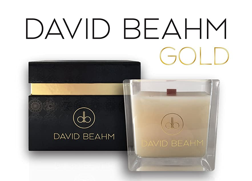 見かけ上動作シミュレートするDavid Beahm Scented Candle「ゴールド」でギフトボックス