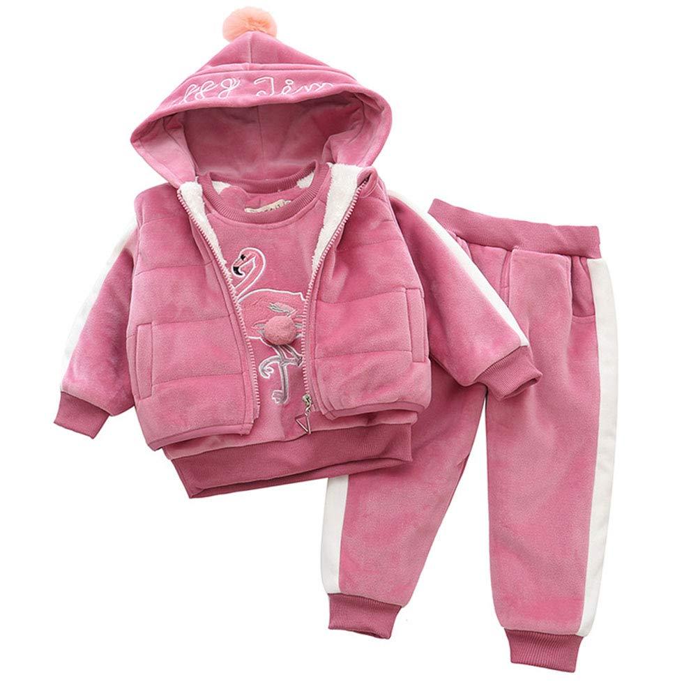 Flamenco del bebé del chaleco de la camiseta Conjunto, niños de algodón grueso traje de ropa, pantalones + chaleco + sudadera con capucha Conjunto,100cm: Amazon.es: Hogar