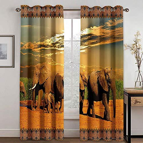 zpangg Cortinas Termicas Una Manada De Elefantes Opaca Cortina para Habitación Térmica Aislante Y Ruido Reducción 2 Unidades Impresión 3D Cortinas Termicas Aislantes 184×214Cm