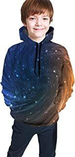 Cyloten Kid's Sweatshirt Space Stars Galaxy Night Novelty Hoodies Comfortable Warm Hooded Top Sweatshirt
