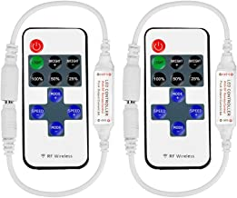 VIPMOON 2 Pack RF Mini Monochromatic Controller with DC 11-Key Wireless Remote Control for Dimmable 3528 5050 LED Strip