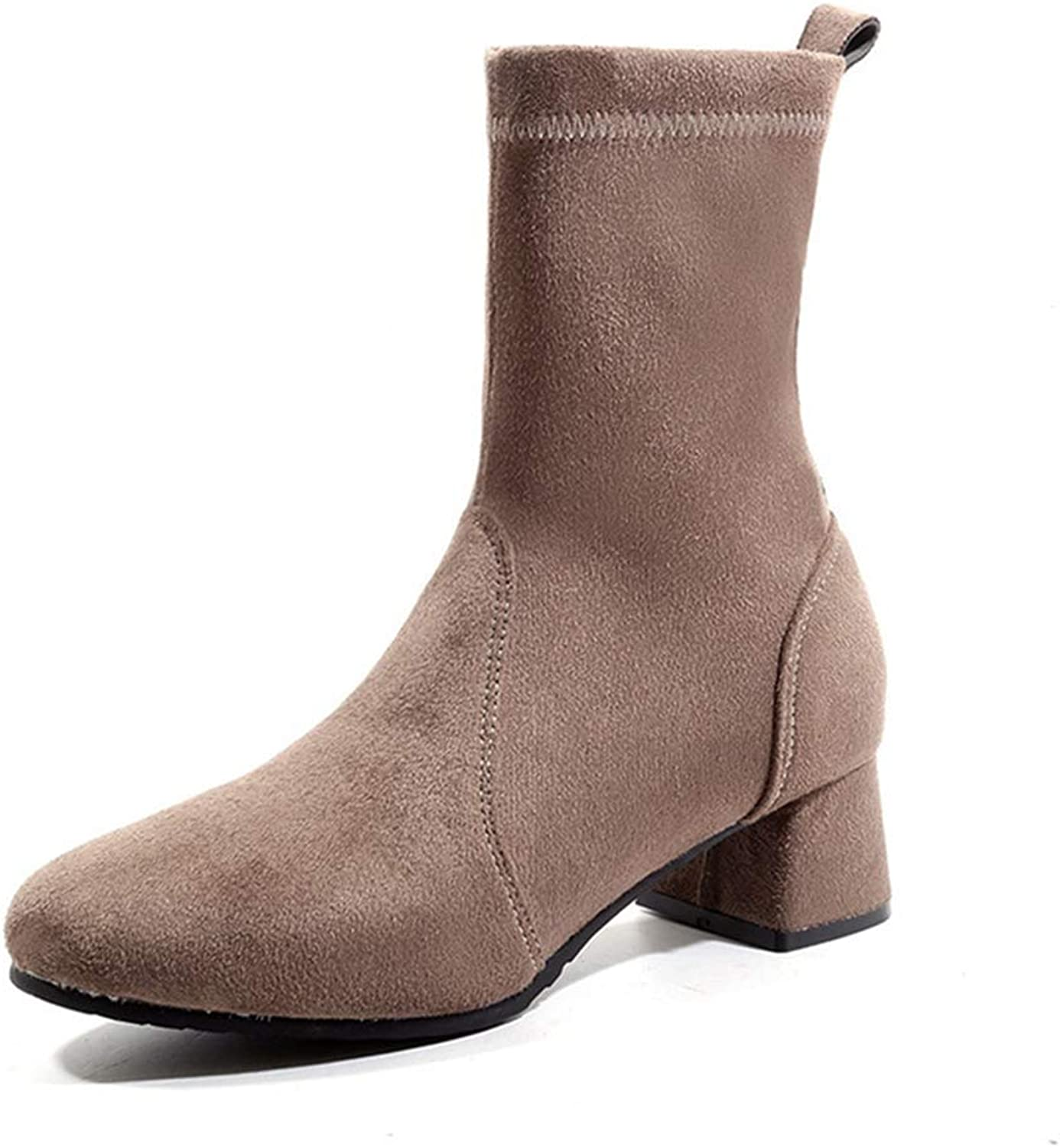 Fashion shoesbox Women's Stretch Ankle Boots Vegan Suede Square Toe Pull On Booties Comfort Mid Block Heel Short Boots